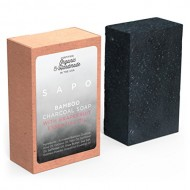 SAPO Bamboo Charcoal Soap Bar – All Natural USA Handmade & Organic – Helps with Acne, Psoriasis, Eczema – Gentler Than African Black, Dead Sea, Castile Soaps – Has Coconut Oil, Oatmeal, Shea Butter