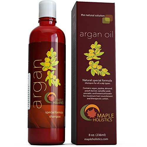 Argan Oil Shampoo, Sulfate Free, 8 oz. – With Argan, Jojoba, Avocado, Almond, Peach Kernel, Camellia Seed, and Keratin – 100% Safe for Color Treated Hair – For Men, Women, and Teens – All Hair Types – Most Beneficial Haircare Product Available