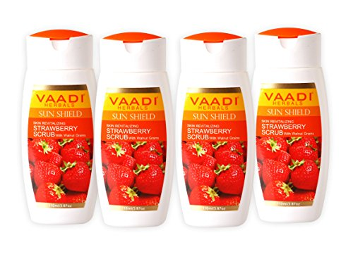 Strawberry Scrub Moisturizing Lotion with Walnut Grains – ★ Lightens and Softens the Skin – ★ Reduces Pigmentation and Tanning – ★ Removes Dead Skin Cells – ★ Suitable for All Skin Types – ★ Value Pack of 4 X 110ml (14.88 Ounces (440 Ml)) – Vaadi Herbals