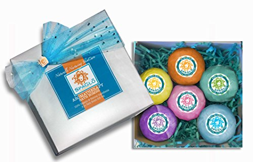 Bath Bomb Gift Set – FREE PRIORITY SHIPPING- 6 Moisturizing, Extra Large, Handmade, Organic, Lush, AromaTherapy Bath Bombs 4.5 oz each – Now with Organic ARGAN OIL, Organic Shea & Cocoa Butter with Essentials Oils, Skin Moisturizing & Healing Ingredients, No Dyes or Artificial Colors