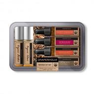 DRAPER/HOLM – Refined DIY Organic Essential Oil Perfume Set (Bergamot, Sweet Orange, Geranium, Jojoba Oil – .25 FL OZ Each)