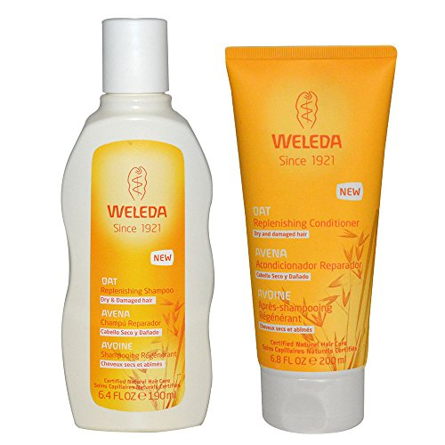 Weleda All Natural Organic Replenishing Oatmeal Shampoo and Conditioner Bundle For Dry or Damaged Hair With Jojoba and Sage Leaves For Men or Women, 6.4 fl. oz. each
