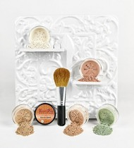 Mineral Makeup 5 pc KIT w/ FACE BRUSH Foundation Set Full Size Sheer Powder Bare Skin Cover (Warm (neutral-most popular))