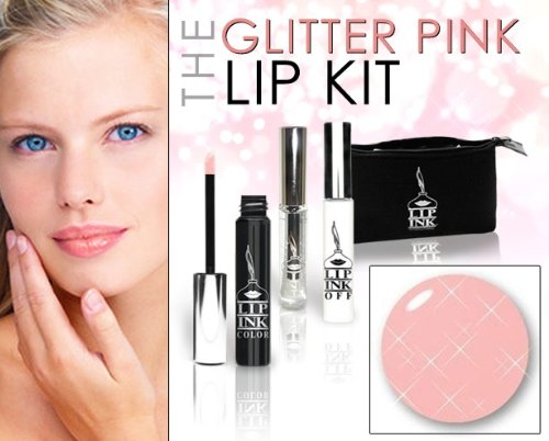 LIP INK Organic Vegan 100% Smearproof Glitter Pink Lip Stain Kit
