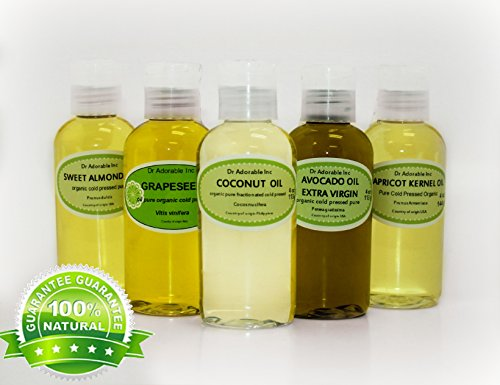 5 Variety Set All Natural Premium Organic 100% Pure Oils (Fractionated Coconut Oil, Unrefined Extra Virgin Avocado oil, Apricot Kernel Oil, Grapeseed Oil, Sweet Almond Oil) Hair Skin Nails Care