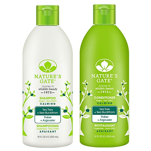 Nature's Gate All Natural Organic Calming Tea Tree Oil Shampoo and Conditioner Bundle With Anti-Dandruff Flaky Scalp Treatment, Jojoba, Witch Hazel, Borage, Rosemary, Mint and Nettle, 18 fl. oz. each