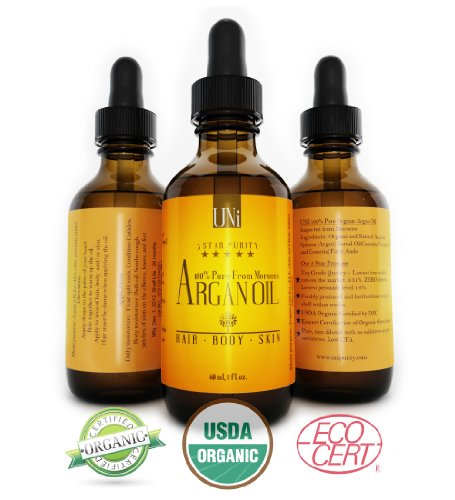 Premium 100% Pure Organic Moroccan Argan Oil. Hair & Skin Treatment 2oz/60ml. TRIPLE Extra Virgin Grade. FAST ABSORBING. Certified Organic EcoCert & USDA. Cold Pressed Oil. For Dry Scalp, Nails, Cuticles. Excellent Daily Moisturizer. Guaranteed Results within Days.