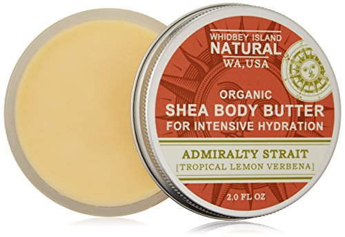 Whidbey Island Natural Organic Shea Body Butter For Intensive Hydration – Admiralty Strait (Tropical Lemon Verbena) 2 fl oz. A super-moisturizing treat for dry, thirsty skin. Over 70% Organic Shea Butter. Handmade in the Pacific Northwest, USA