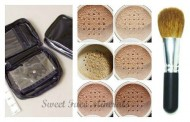 XXL KIT w/ BRUSH & CASE Full Size Mineral Makeup Set Bare Skin Powder Foundation Cover by Sweet Face Minerals (Warm)