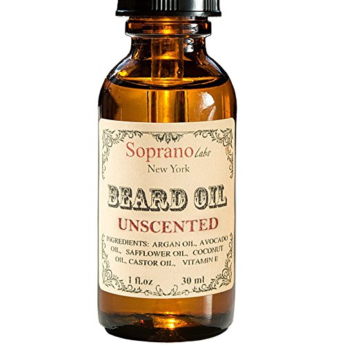 Unscented Beard Oil. Luxury Beard Conditioner. All Natural Handmade Beard Moisturizer made with Organic Avocado, Argan, Safflower, Castor, Vit E Oil