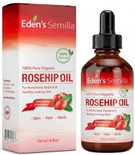 100% Pure Rosehip Oil – 4 OZ – Certified ORGANIC – Cold pressed & unrefined – NON Greasy HIGH absorbency – Use daily – Anti ageing, nourishes, hydrates and visibly reduces fine lines, scars, stretch marks and skin pigmentations – Suitable for all skin types – Eden's Semilla Essential Skin Care