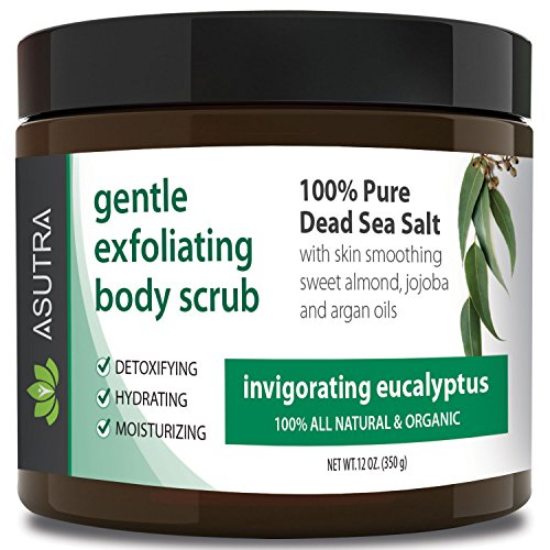 "Best ORGANIC Exfoliating Body Scrub – ""INVIGORATING EUCALYPTUS"" – 100% Pure Dead Sea Salt Scrub / Ultra Hydrating & Moisturizing with SKIN SMOOTHING Jojoba, Sweet Almond & Argan Oils – 12oz"