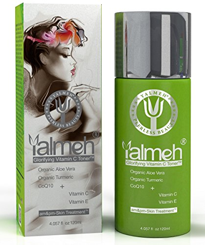YALMEH Glorifying Vitamin C Toner- Natural and Organic Skin Toner with Organic Aloe Vera, Organic Turmeric, MSM and CoQ10 – Considered the Best Anti Aging Face Toner Available – Restore Your Skin's Natural Balance – Nourish and Hydrate the Skin Deeply for that Healthy, Radiant Glow!