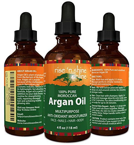 Pure Morocco Argan Oil (4 oz) Best for Hair, Skin, and Nails – 100% All Natural Virgin Moroccan Argan Oil is a Great Shampoo, Conditioner, Hair Spray, Mask and Excellent Hair Growth and Loss Treatment