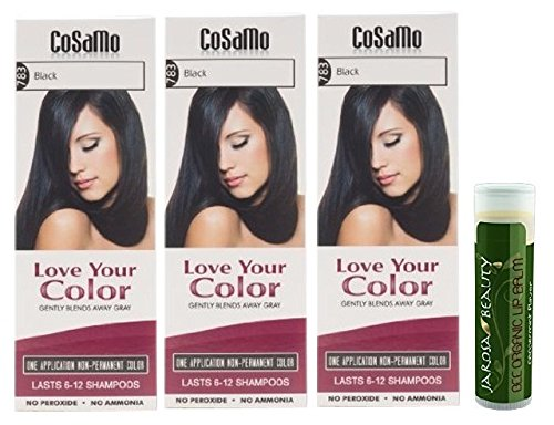 Cosamo -Love Your Color- Ammonia & Peroxide Free Hair Color #783 Black (Pack of 3) with One Jarosa Beauty Bee Organic Peppermint Lip Balm 100% All Natural Deep Moisturizing Usda Certified Organic