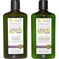 Andalou Naturals Lavender & Biotin Full Volume Shampoo & Conditioner Hair Loss Solution With Biotin Growth Serum, Aloe Vera Extract and Jojoba Oil For Men & Women, 11.5 fl. oz. each