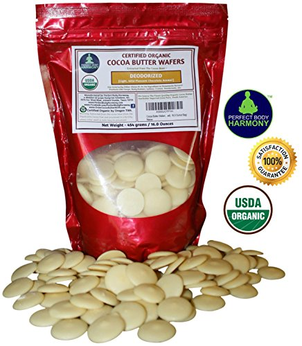 Cocoa Butter Wafers (Deodorized) Best Premium Authentic Certified Organic 16.0 oz Bag. Rich In Antioxidants From Cacao Bean. Light Mildly Scented Chocolate Aroma. 16.0 Ounce Bag)