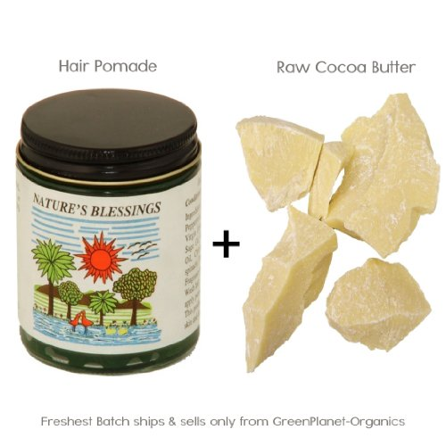 2LB (32oz) Raw Fresh Cocoa Butter +1 Nature's Blessing Hair Pomade
