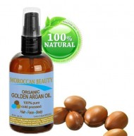 Moroccan Beauty Golden Argan Oil, 100% Pure/ Natural, Certified Organic -For Face, Hair, Nails and Body 2 oz-60ml