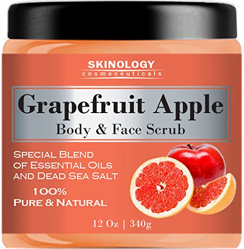 100% Natural Grapefruit Scrub for Face & Body 12 Oz – Powerful Body Scrub Exfoliator with Dead Sea Salt, Vitamin E & Essential Oils – Facial Scrub Cleanser & Daily Moisturizer for All Skin Types