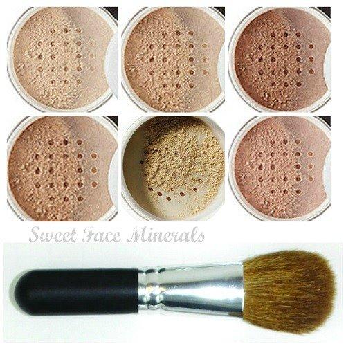 XXL KIT with BRUSH Full Size Mineral Makeup Set Bare Skin Powder Foundation Cover by Sweet Face Minerals (Pink Bisque)